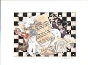 Nursery Rhyme Mixed Media Metal Prints - Hey Diddle Diddle  Metal Print by Ginger Stockwell