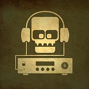 Olive Drab Prints - Hi Fi Skull Print by Milton Thompson