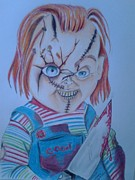 Horror Movies Drawings - Hi Iam Chucky  Wanna PLaY by Denisse Del Mar Guevara