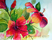Pink Flower Prints Originals - Hibiscus Beauties by Dottie Kinn