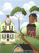 Primitive Folk Art Prints - Hickory Grove Print by Catherine Holman