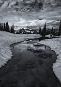Mt Rainier Stream Framed Prints - Hidden Beneath the Clouds Framed Print by Mike  Dawson