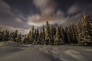 Snowy Night Photos - Hidden Cabin by Chris Scharf