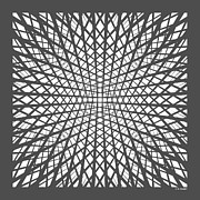 Op Art Digital Art Posters - Hidden Circle in Grey Poster by Angela Chaney