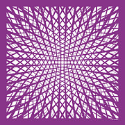 Op Art Digital Art Posters - Hidden Circle in Purple Poster by Angela Chaney
