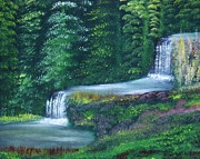 Waterfalls Paintings - Hidden Falls by John Minarcik