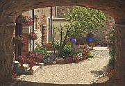 Villa Painting Metal Prints - Hidden Garden Villa di Camigliano Tuscany Metal Print by Richard Harpum