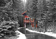 Snow Scenes Metal Prints - Hidden House Metal Print by Susan Crossman Buscho