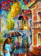 Rain Painting Framed Prints - hidden Love Framed Print by Leonid Afremov