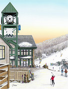 Winter Scene Drawings Metal Prints - Hidden Valley Ski Resort Metal Print by Albert Puskaric