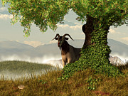 Farmyard Digital Art Posters - Hide and Goat Seek Poster by Daniel Eskridge