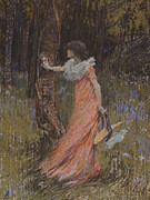 Purple Flowers Pastels Posters - Hide and Seek Poster by Elizabeth Adela Stanhope Forbes