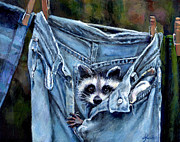 Donna Tucker Posters - Hiding in My Jeans Poster by Donna Tucker
