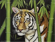 Wildlife Sculpture Prints - Hiding in the Bamboo Print by Wanda Dansereau