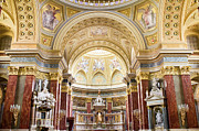 Interior Scene Prints - High Altar in the St Stephen Basilica in Budapest Print by Artur Bogacki
