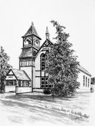 Towns Drawings - High Country Church by Judy Sprague
