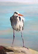 Waterfowl Pastels - High Falls Heron by Debbie Anderson