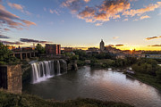 Rochester Skyline Framed Prints - High Falls Sunset Framed Print by Mark Papke