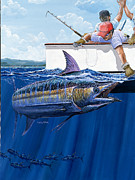 Striped Marlin Painting Framed Prints - High Fives Off0043 Framed Print by Carey Chen