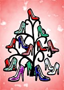 Xmas Mixed Media Framed Prints - High Heels Tree Framed Print by Anastasiya Malakhova