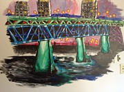 Lit Mixed Media Posters - High Level Bridge Poster by Shelby Rawlusyk