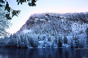 Flurries Posters - High Mountain Lake in Winter Poster by Stacey Lynn Payne