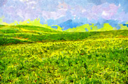 Green Day Painting Prints - High mountain meadow painting Print by Magomed Magomedagaev