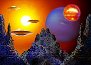 Flying Crafts Prints - High Noon at a Distant Planet Print by Hartmut Jager