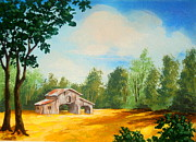 Pasture Scenes Painting Posters - High  Pasture  Barn  Poster by Shasta Eone