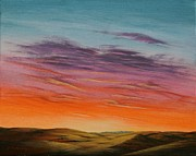 Prairie Sunset Paintings - High Plains Sunset by J W Kelly