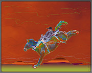 Bronc Framed Prints - High Riding Framed Print by Kae Cheatham