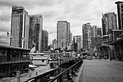 Overcast Day Photo Prints - high rise apartment condo blocks in the west end coal harbour marina Vancouver BC Canada Print by Joe Fox
