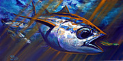 Tuna Paintings - High Seas Albacore Tuna Fish Art by Mike Savlen