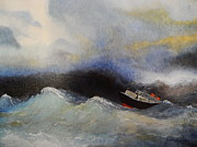 Liner Paintings - High Seas by Gudrun Hirsche