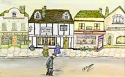 Old England Mixed Media Prints - High Street Print by Loredana Messina