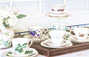 Saucer Framed Prints - High Tea Framed Print by Holly Kempe