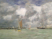 Boat Painting Framed Prints - High Tide at Trouville Framed Print by Eugene Louis Boudin