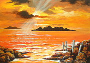 Sun Rays Painting Prints - High  Tide Print by Shasta Eone