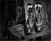 Lacing Posters - High Top Shoes - bw Poster by Nikolyn McDonald