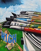 Pinstripes Paintings - High Up Above It All by Randy Segura