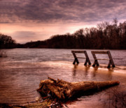 Benches Photos - High Water on the Wolf River by Thomas Young