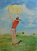 Worship God Paintings - Highest Calling is God Next Golf by Geeta Biswas