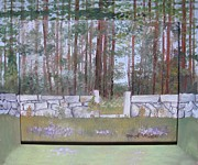 Wild Asters Paintings - Highland Avenue Stone Wall by Carol Veiga