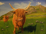 Highland Coos Print by Kelly Bossidy