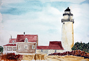 Cape Cod Lighthouse Paintings - Highland Light Truro by Michael Helfen