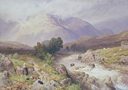 Hilly Landscape Metal Prints - Highland Scene Near Dalmally Argyll Metal Print by Myles Birket Foster