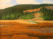 River Scenes Pastels Prints - Highmeadow In Autumn Print by Doyle Shaw
