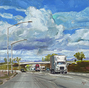 John Stewart Prints - Highway 5 Trucks Print by John Norman Stewart