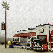 Outdoor Cafes Digital Art Posters - Highway 63 Diner-Series 01 Poster by David Allen Pierson