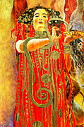 Gold Necklace Framed Prints - Higieja-according to Gustaw Klimt Framed Print by Henryk Gorecki